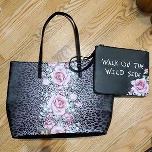 Betsey Johnson rose and cheetah print purse NWT